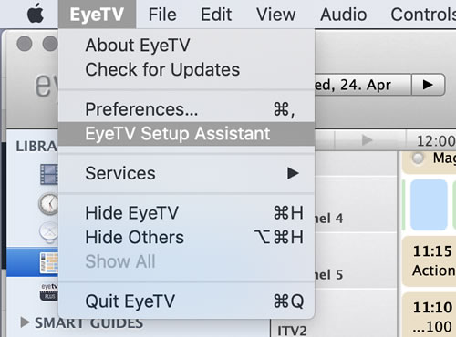 I then went through the setup assistant which is accessed through the EyeTV menu.