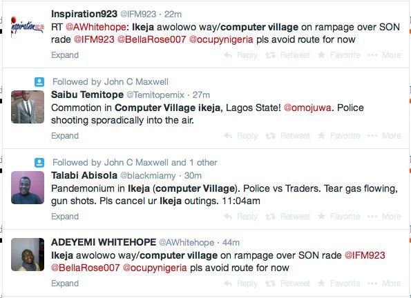 Ikeja Computer Village raid tweets