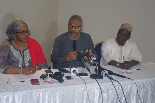 Mrs Maimuna Jimada, Deputy Director of Public Affairs, National Broadcasting Commission (NBC) (left); Mr Emeka Mba, Director-General of NBC and Mallam Awwalu Salihu, Director, Public Affairs NBC at the media briefing held today in Lagos. Photo by Kolade Akinola/Technology Times