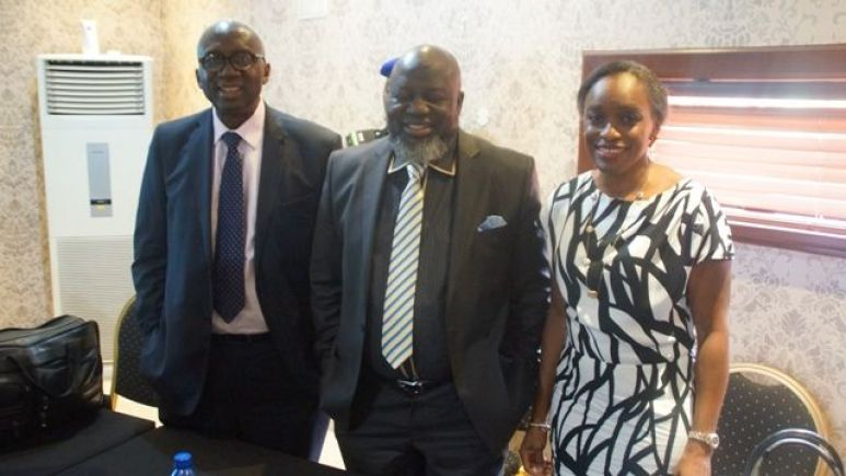 Dr Ernest Ndukwe, former NCC EVC; Barrister Adebayo Shittu, new Minister of Communications and Dr Omobola Johnson at the A4AI meeting held in Lagos