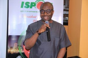Dr Vincent Olatunji Ag. Director General of National Information Technology Development Agency (NITDA) speaks at ISPON dinner