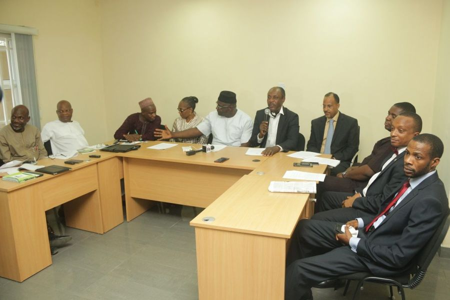 A cross section of NIRA Board members during the press briefing held today at the NIRA Corporate Head Office in Lagos