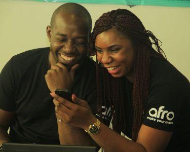Mobile phone users seen at Social Media Week Lagos 2016
