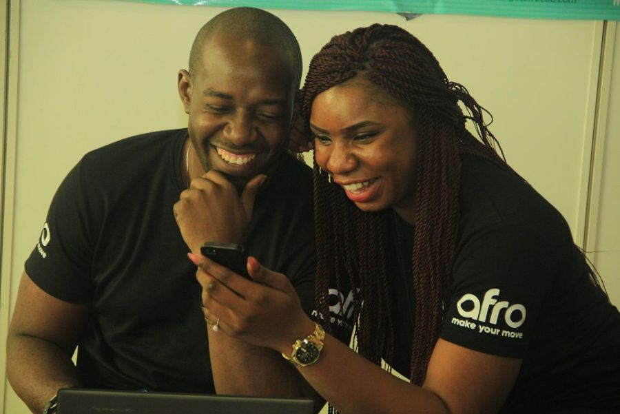 Mobile phone users seen at Social Media Week Lagos 2016