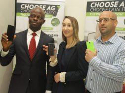 Boni Obieze, C.E.O, Ringo Communications, Tayshira Santamaria, Executive Head of Marketing, AG Mobile and Craig Herri, Sales&Product Manager,AG mobile, during the AG Mobile Press Briefing (12)