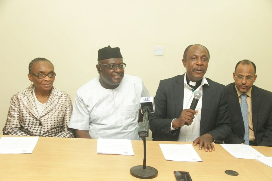 Professor Adenike Osofisan, Member BoT of NIRA (left); Deacon Chima Onyekwere, Chairman of BoT; NIRA Reverend Sunday Folayan, President, NIRA and Mr. Muhammed Rudman, Vice President, NIRA, at a media briefing to announce the 10th Anniversary of NIRA
