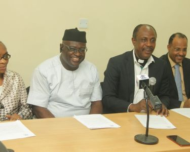 L-R Prof. Adenike Osufisan, Deacon Chima Onyekwere, NIRA Chairman, Rev. Sunday Folayan, President, NIRA and Mr. Muhammed Rudman, vice-president, NIRA. During a press briefing  (2)