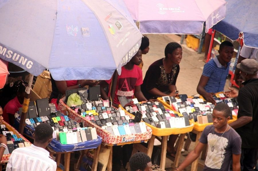 Vital learning tools: Mobile phones on display at Ikeja Computer Village in Lagos
