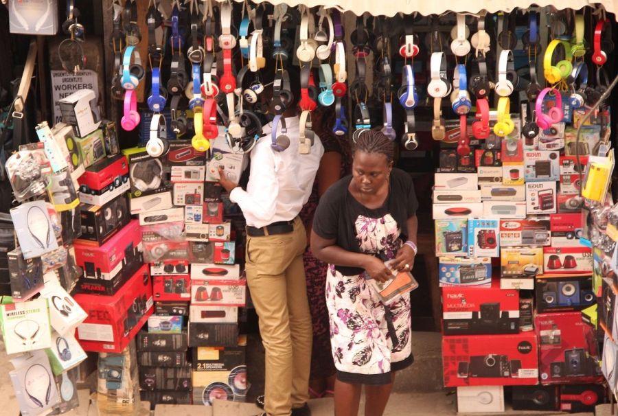 Import dependent: Business activities underway at Ikeja Computer Village, Nigeria's biggest technology market.