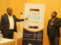 Akin Naphtal, CEO. Instinct Wave with Nnamdi Nwoye, Partner, Credit Switch, while unveiling the Code for Mobile Credit transfer (2)
