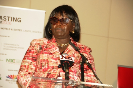 Alheri Saidu, Acting Director-General of NBC speaks at the event