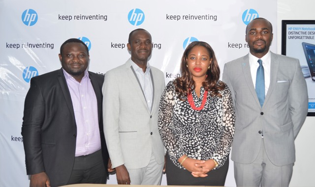 Tolulope Lawani, Marketing Manager, HP Nigeria (left); Francis John Angbo, Enterprise Printing Account Manager, HP Nigeria; Ify Afe, Managing Director, HP Nigeria and Allison Alassan, Trade Marketing Manager, HP Nigeria during the HP media conference held in Lagos