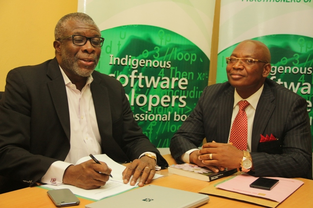 Pius Okigbo, immediate past President, Institute of Software Practitioner of Nigeria (ISPON), left, and James Emadoye, current President of ISPON, at a press briefing in Lagos