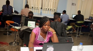 Technology Times files photo shows technology innovators at work inside iDea Hub Nigeria, a technology innovation and incubation centre located in Yaba, Lagos     Photo by Kehinde Shonola of Technology Times
