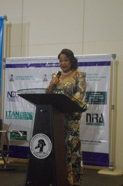 Dr Nike Akande, LCCI President, speaks at the Expo.