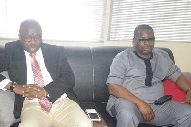 Dr Vincent Olatunji Acting and Mr Olayinka Adejube, a Director of South-West Zonal Office at NITDA,during the interactive session with journalist
