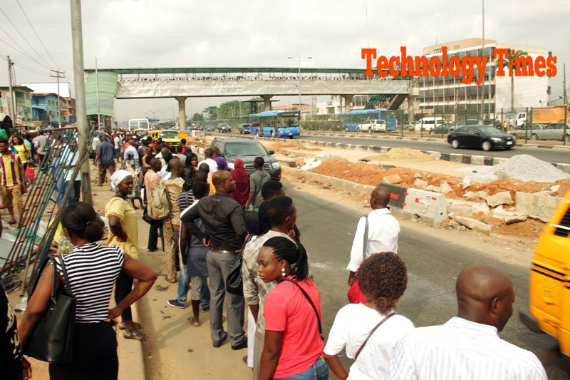 Technology Times photo file shows people on a Lagos road.