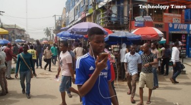Big market: Technology Times file photo shows people seen working at Ikeja Computer Village in Lagos