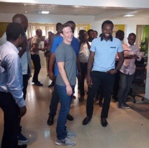 Facebook founder, Mark Zukerberg picture in Co Creation Hub during his visit to Nigeria