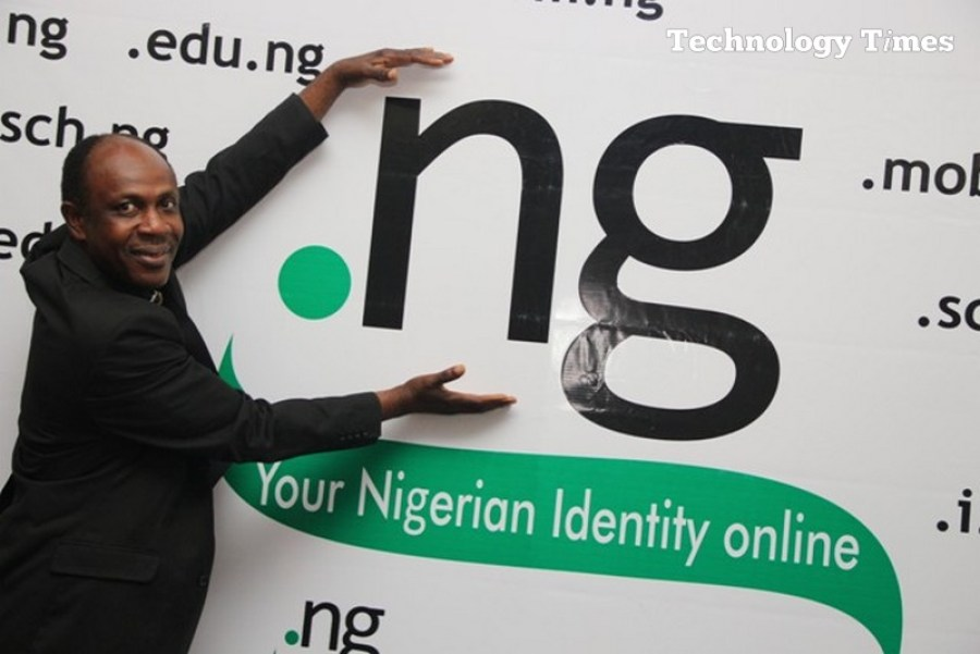 Sunday Folayan, President of Nigeria Internet Registration Association of Nigeria (NIRA) seen at a display of Nigeria's .ng Internet domain name in Lagos