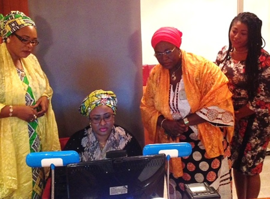 File photo shows Mrs Aisha Buhari, wife of President Muhammadu Buahri of Nigeria undergoing registration for her Nigeria National ID at the State House, Abuja. Photo credit: NIMC
