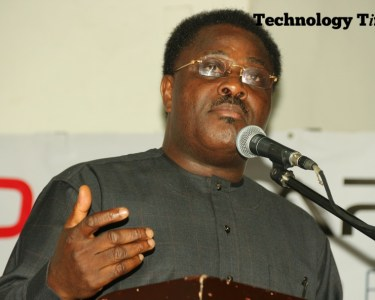 """Mr Debo Adesina, Editor-in-Chief of The Guardian Newspapers, seen in photo, while making a presentation on the theme, """"Nigerian Media in a Digital Age"""" at the Technology Times Outlook 2017, #TTOutlook17, held Friday at The MUSON Centre, Lagos."""