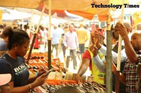 Business activities underway at Computer Village Ikeja where Technology Times found mixed reactions to the issue of Made-in-Nigeria phones