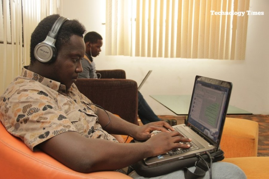 Young Nigerians seen at work inside the Information Technology Developers Entrepreneurship Accelerator (iDEA) Hub in Yaba, Lagos.