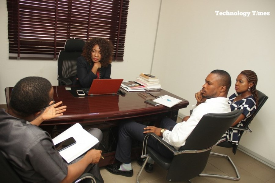 Mrs. Helen Anatogu, Chief Executive Officer of iDEA Hub (facing camera) in this exclusive interview with Technology Times team of Kolade Akinola, second from right, and Elizabeth Edozie, on the extreme right. Photography by Kehinde Sonola of Technology Times.