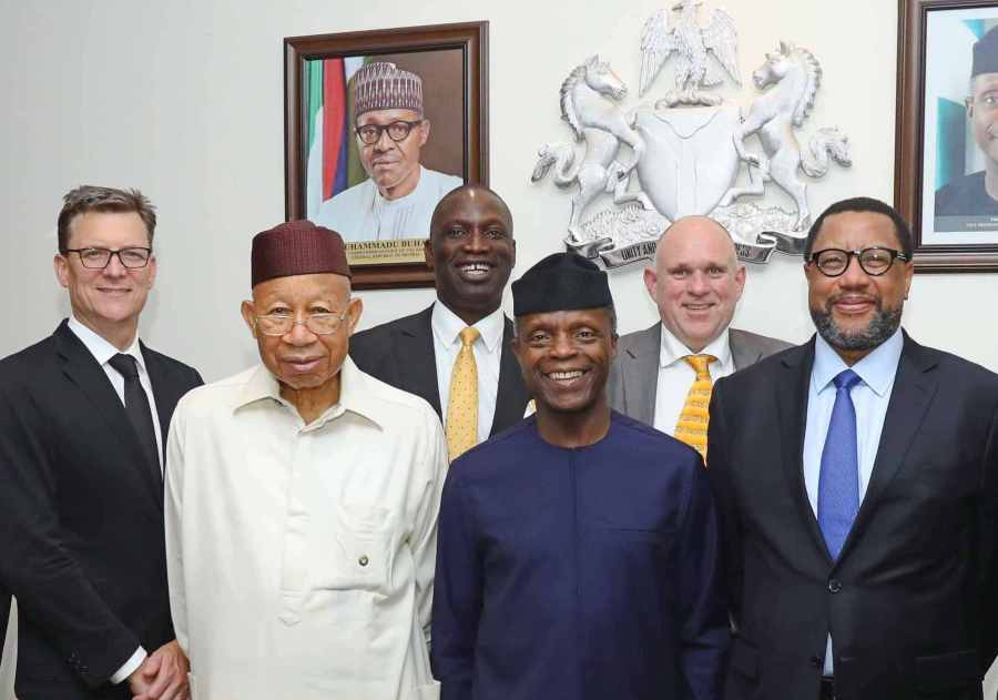 Rob Shuter, Group Chief Executive Officer/President MTN; Dr. Pascal Dozie, Chairman MTN Nigeria; Tobechukwu Okigbo, Corporate Relations Executive, MTN Nigeria; Professor Yemi Osinbajo, Vice President of the Federal Republic of Nigeria; Ferdinand Moolman, Chief Executive Officer, MTN Nigeria and Phuthuma Nkhleko, Group Chairman MTN during a courtesy visit to the Vice President in Abuja yesterday.