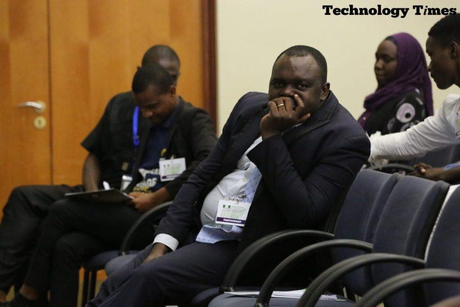 Photo by Aduragbemi Akinpelu of Technology Times shows Benjamin Aduli, O-mobile CEO at the Nigeria Internet Governance Forum (NIGF 2018) underway in Abuja.