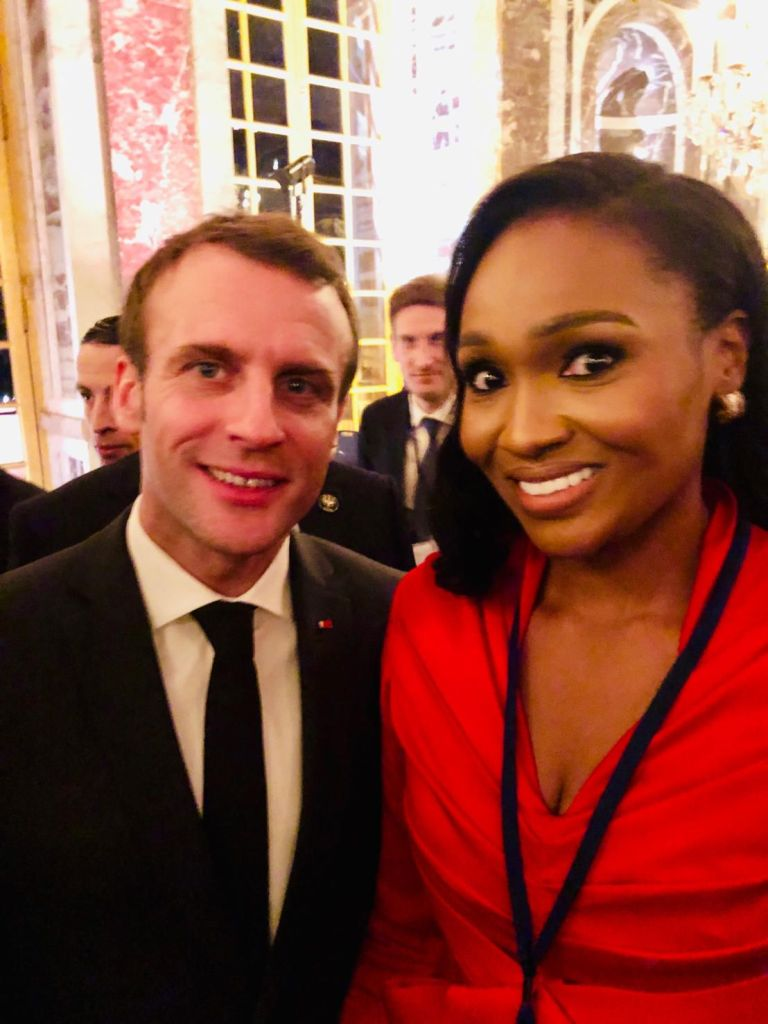 Emmanuel Macron, President of France (left) and Mrs Bella Disu, the new Executive Vice Chairman of Globacom Limited at the ChooseFrance International Business Summit in France