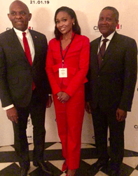 Chairman of Heirs holdings; Mr. Tony Elumelu (left); Executive Vice-Chairman of Globacom, Mrs. Bella Disu and Chairman of Dangote Group; Aliko Dangote at the Choose France Summit at Château Versailles