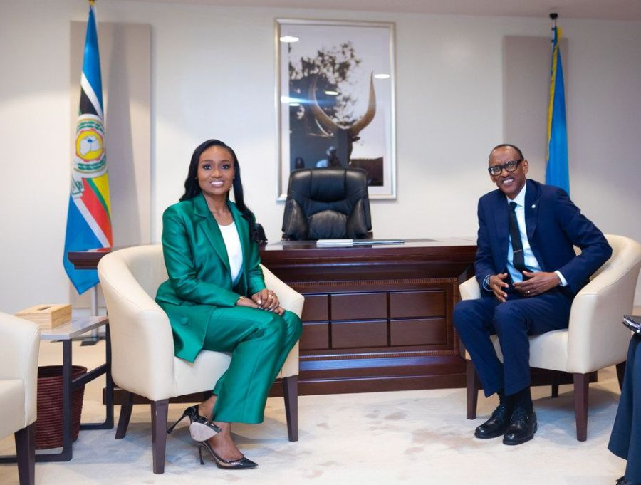 President Kagame and Mrs Bella Disu during the meeting.