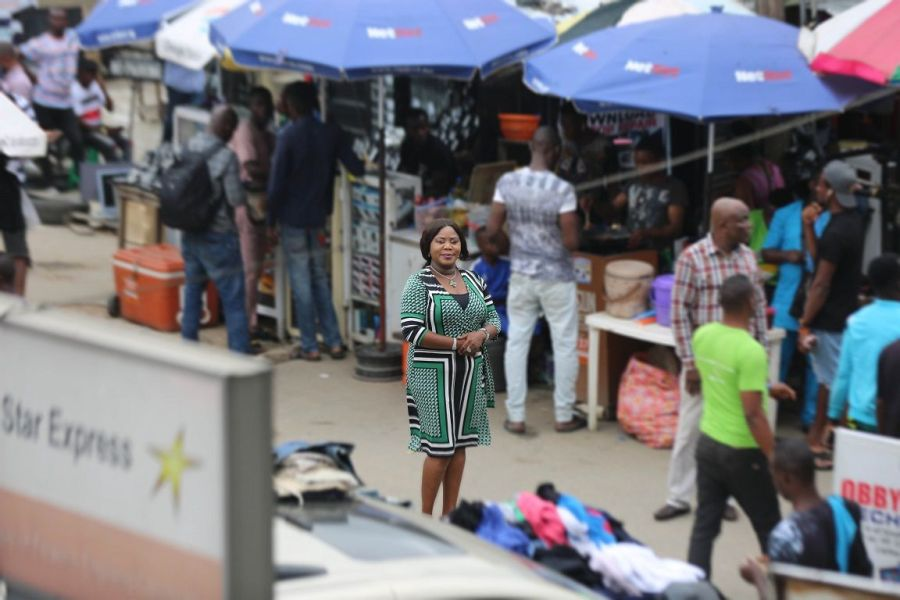 Mrs Bisola Azeez Isokpehi, the Iyaloja of Ikeja Computer Village, seen standing inside a street in the market says #CVE2019, the biggest consumer technology innovation festival in Nigeria, will showcase tomorrow's cutting-edge consumer technology innovation.