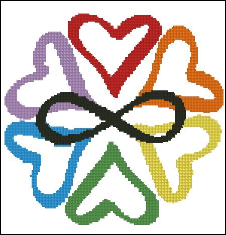 Six hearts encircling an infinity symbol