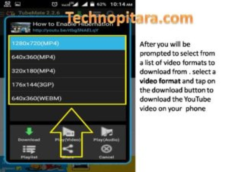 After you will be prompted to select from a list of video formats to download from . select a video format and tap on the download button to download the YouTube video on your phone