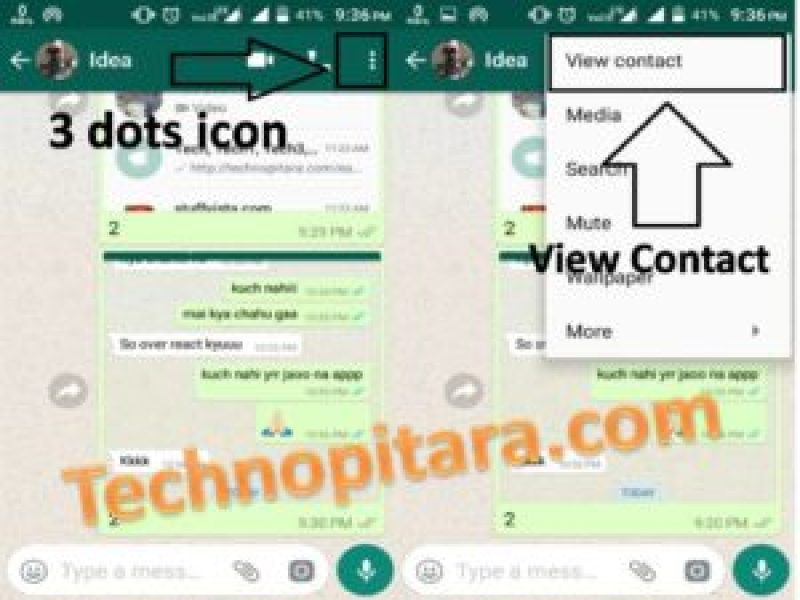 Click on > 3 dots icon and it show > View Contact click