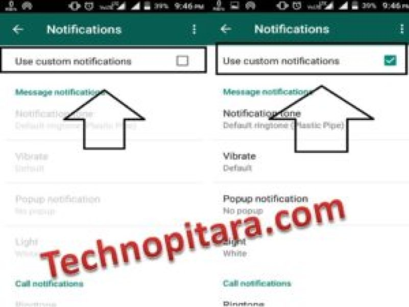 Use custom notifications option