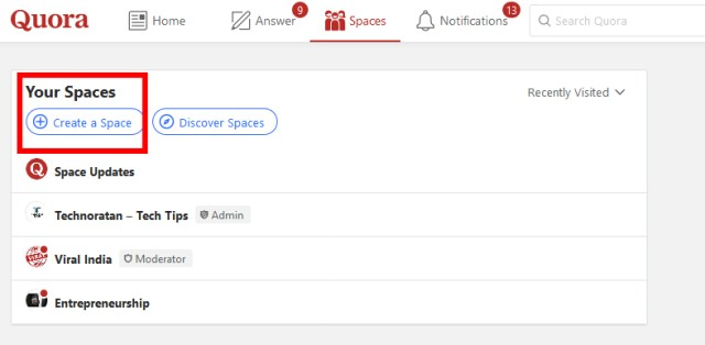 How to Create Quora Space- Quora Space Guide Hindi