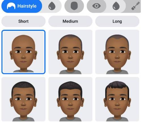 Select Hairstyle and skin tone option in Facebook Avatar