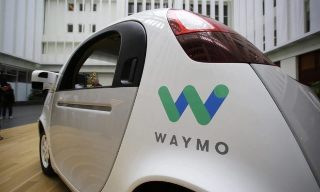 The Waymo driverless car displayed during a Google event in San Francisco in 2016. Photograph: Eric Risberg/AP