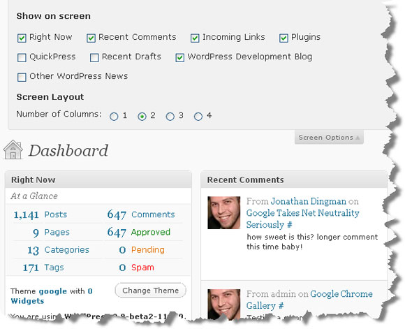 New WordPress Dashboard