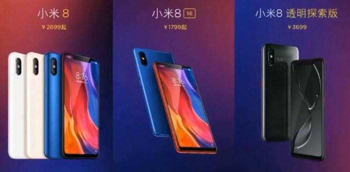 Xiaomi Mi 8 Mi 8 Explorer Edition and Mi 8 SE Price and specification