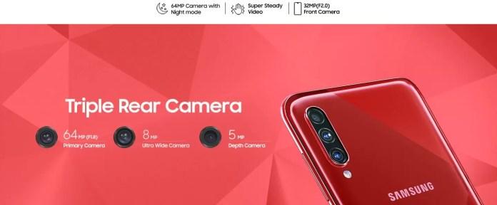 Samsung Galaxy A70s Triple Camera Setup