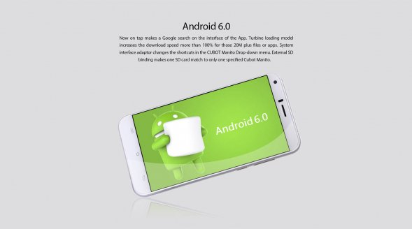Android 6.O in Cubot Manito 4G Smartphone