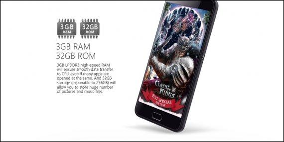 3GB RAM and 32 GB ROM in Ulephone Gemini