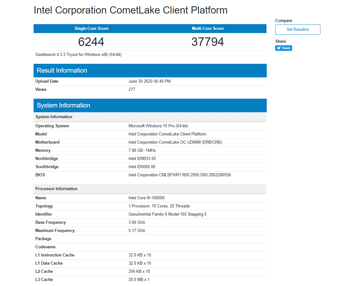 A new 10 core Intel Core i9-10850K CPU spotted running at 5.2 GHz on Geekbench
