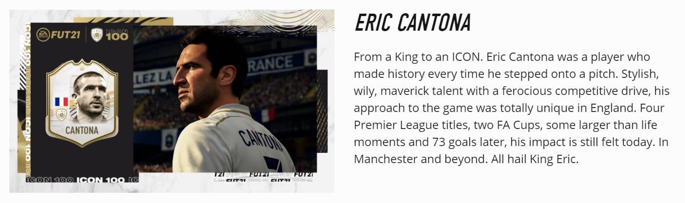 Eric cantona är både en. Eric Cantona Fifa 21 Fut Icon Technosports