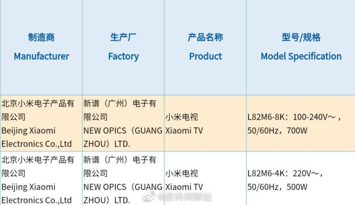Two New Xiaomi Mi TV spotted with 8K & 4K resolution while 3C certification_technoSports.co.in